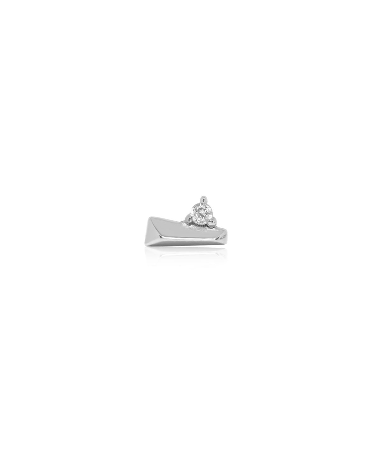 (Single) Crystal Bar Stud | Silver