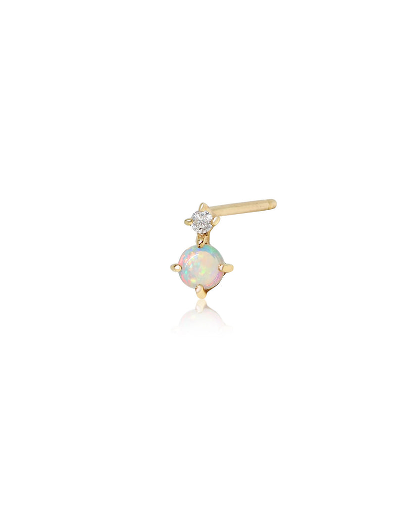 (Single) Opal Duo Stud | 9k Gold