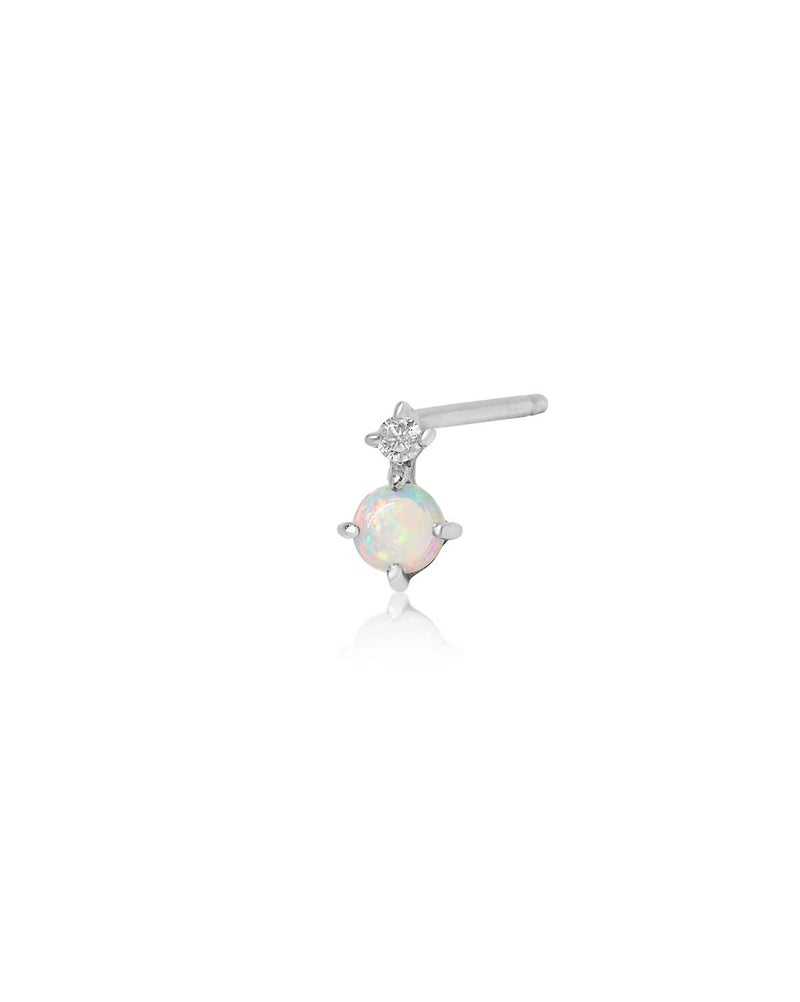 (Single) Opal Duo Stud | Silver