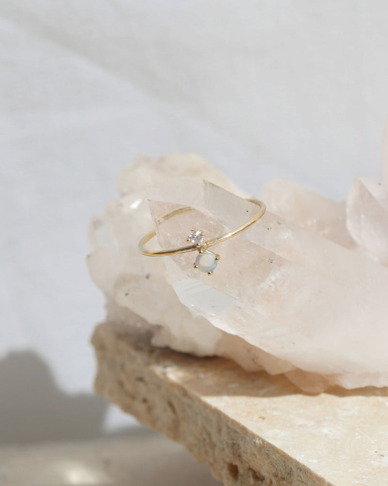 Opal Duo Ring | 9k Gold