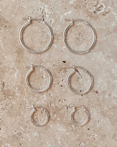 (Pair) Aura Hoop Earrings | Silver