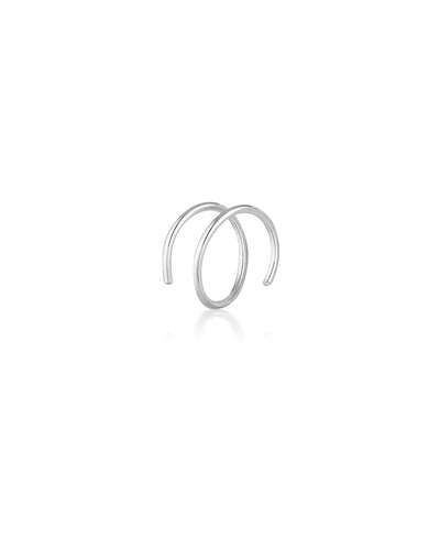 (Single) Illusion Spiral Hoop Earring | Sterling Silver