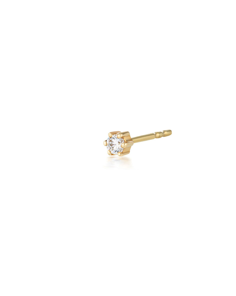 (Single) Crystal Droplet Stud Earring | 9k Gold