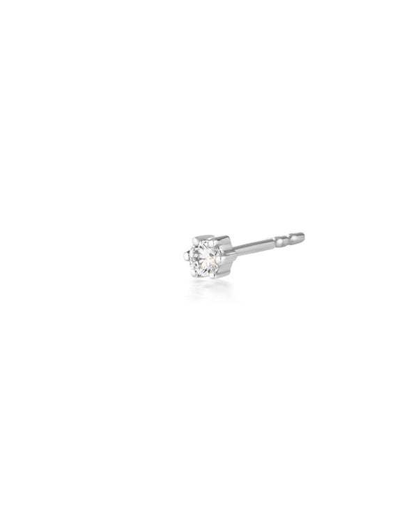 (Single) Crystal Droplet Stud Earring Silver