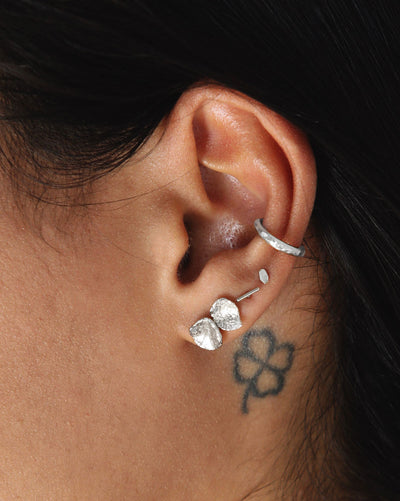 (Single) Molten Dash Stud Earring | Silver