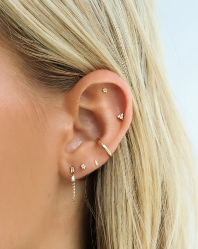 (Single) Molten Dot Stud Earring | 9k Gold