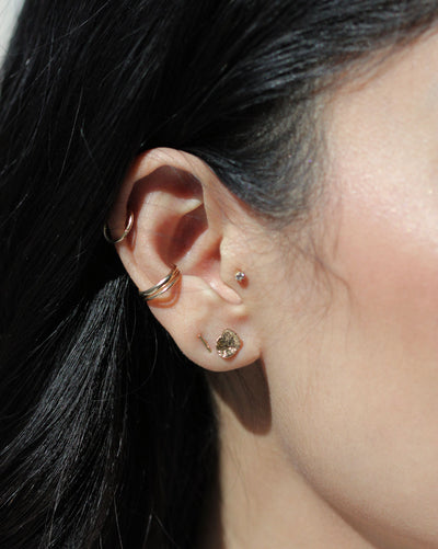 (Single) Molten Drop Stud Earring | 9k Gold