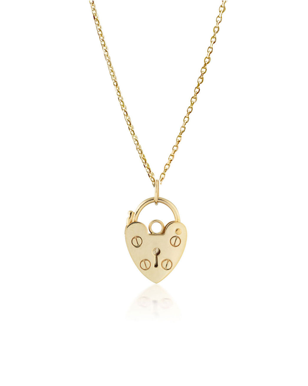 Mini Heart Lock Necklace | 9k Gold