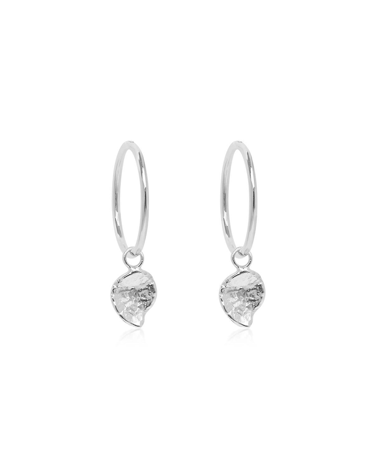 (Pair) *NEW* Molten Drop Hoop Earrings | Silver
