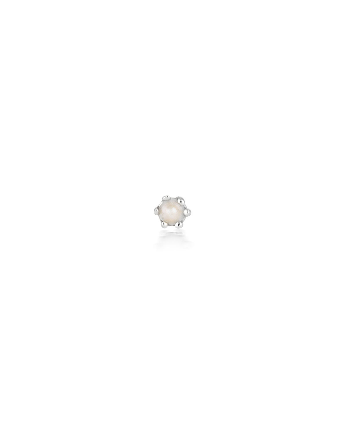 (Single) Pearl Droplet Stud Earring | Silver