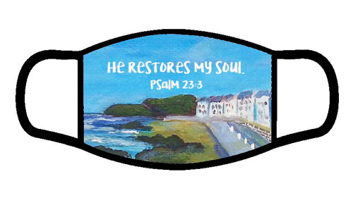 Psalm 23:3 Scripture Face Mask