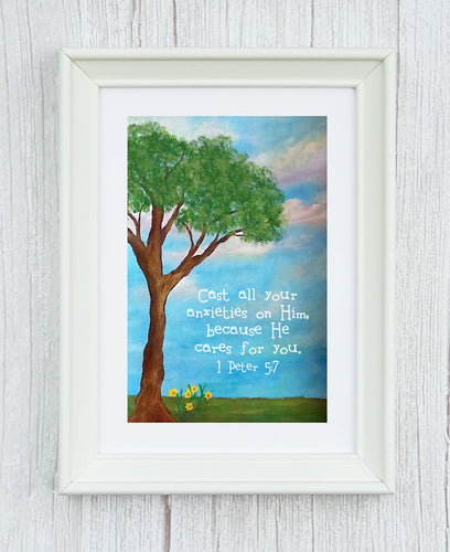 1 Peter 5:7 Framed Print