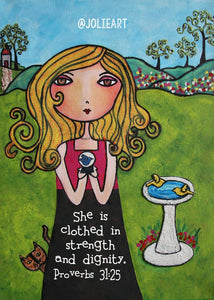 Proverbs 31:25 She is Clothed in Strength and Dignity Bible Verse Print