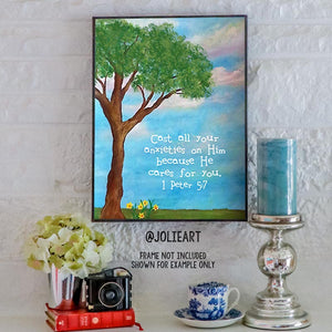 1 Peter 5:7 Cast All Your Anxieties on Him Bible Verse Print