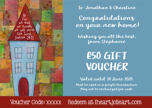 New Home Gift Voucher - £10 to £100 Value