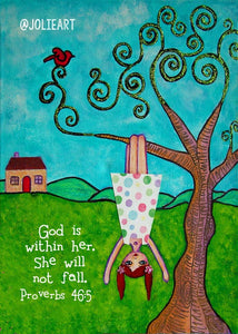 Proverbs 46:5 God is within Her She Will Not Fall Bible Verse Print