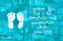 Psalm 139:14 I Praise You For I Am Fearfully and Wonderfully Made Baby Boy Bible Verse Print