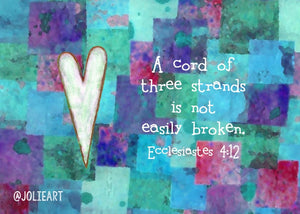 Ecclesiastes 4:12 A Cord of Three Strands is Not Quickly Broken Bible Verse Print