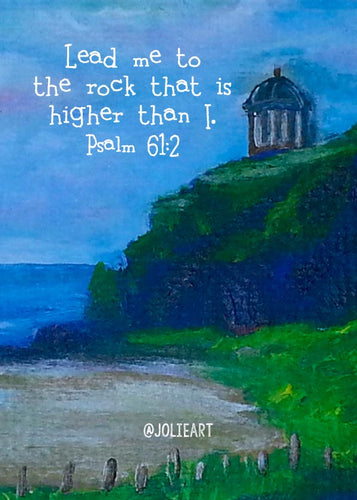 Psalm 61:2 Lead Me to the Rock Bible Verse Print