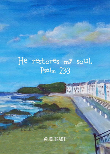 Psalm 23:3 He Restores my Soul Bible Verse Print