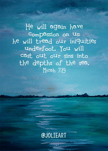 Micah 7:19 He Will Again Have Compassion Bible Verse Print