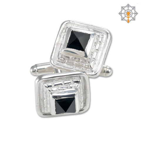 Great Pyramid Cuff links w/Onyx
