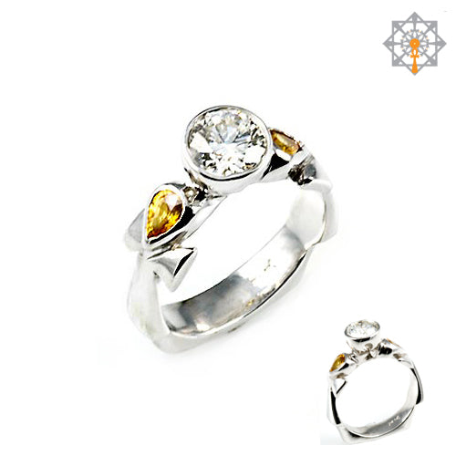 3-Stone Ankh Engagement Ring