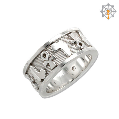 Ankh and Africa Map Wedding Band