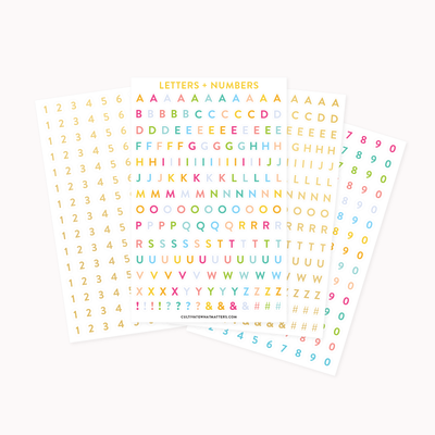 Letter and Numbers Sticker Pack - Cultivate What Matters - Personalization Stickers - Goal Setting - Planner Stickers