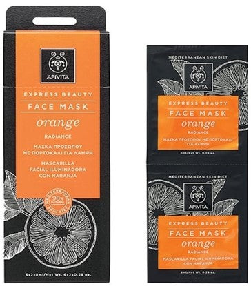 APIVITA FACE MASK RADIANCE WITH ORANGE 2x8ml