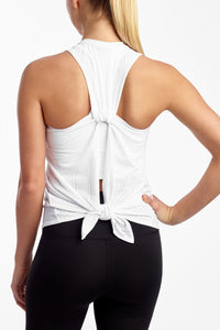 Burnout Tie Back Tank- White