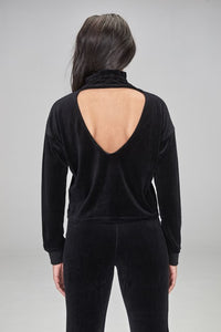 Open Back Velour Mock Neck