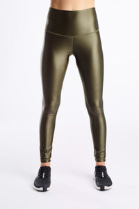 High Shine Signature Tights- Moss Green