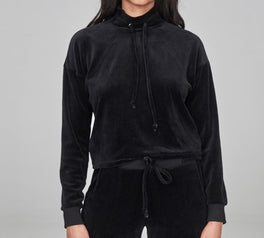 Load image into Gallery viewer, Open Back Velour Mock Neck