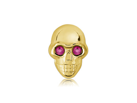 Swarovski Fuschia Eyes / 18k Gold Skull