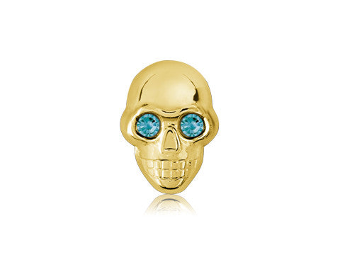 Swarovski Teal Eyes / 18k Gold Skull