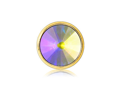Swarovski Iridescent Pointed Gem / 18k Gold