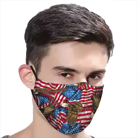 Eagles and Flags Design - Non-Pleated Mask