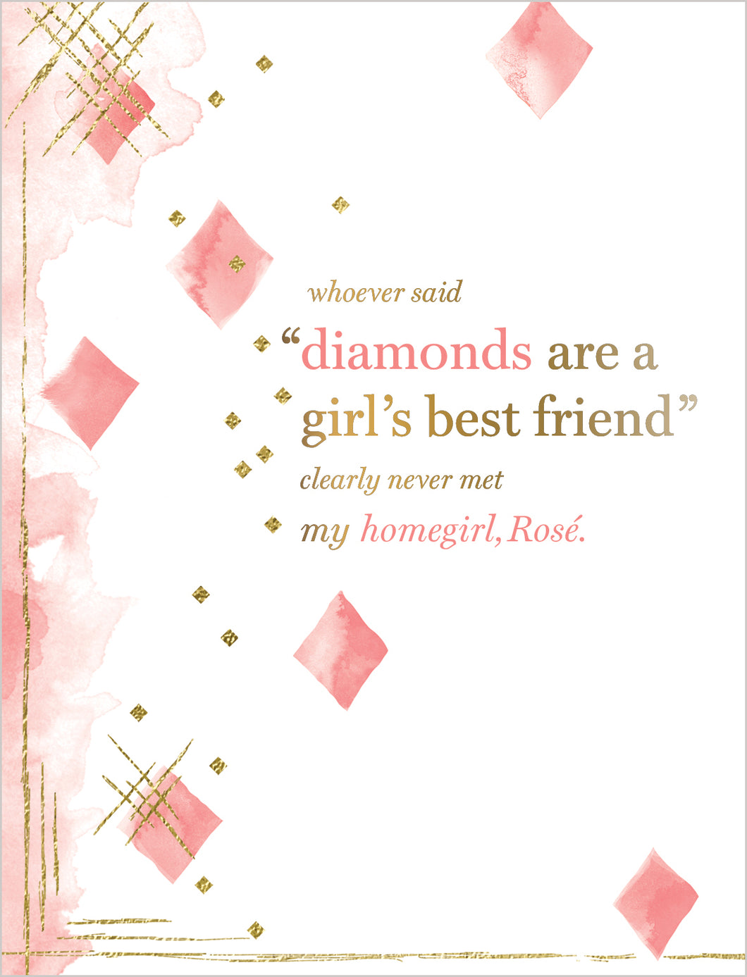 Birthday Card - Diamonds Are A Girl's Best Friend