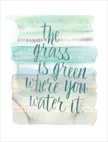 Friendship Card - The Grass is Green Where You Water It - Nikki Chu