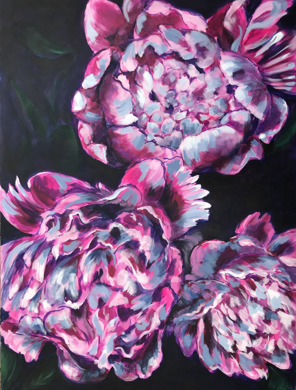 PEONY TRILOGY | 36x48 | ORIGINAL ACRYLIC PAINTING ON CANVAS | Item number 19-13P