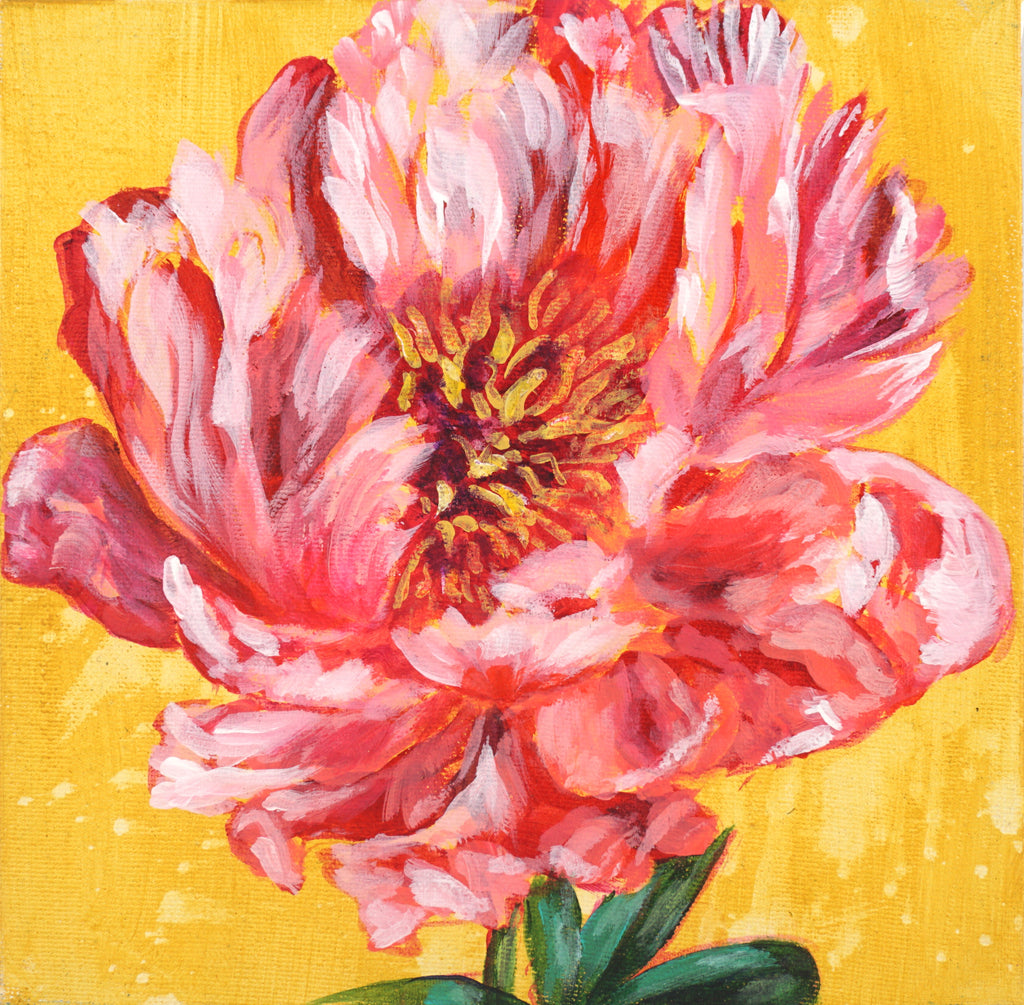 PEONY ON YELLOW | 8x8 | ORIGINAL ACRYLIC PAINTING ON CANVAS | Item number 19-25P
