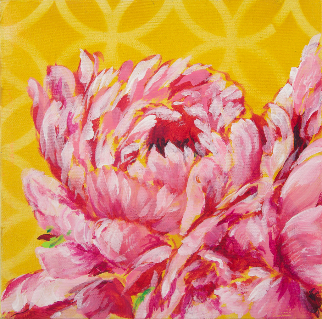 PEONY CLUSTER ON YELLOW | 8x8 | ORIGINAL ACRYLIC PAINTING ON CANVAS | Item number 19-26P