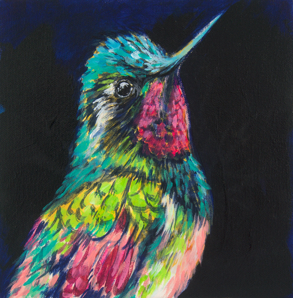 HUMMINGBIRD | 8x8 | ORIGINAL ACRYLIC PAINTING ON CANVAS