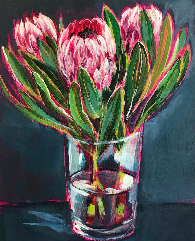 VASE OF PROTEA | 8X6 | ORIGINAL ACRYLIC PAINTING ON WOOD | Item number 19-74P