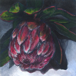 MOODY PROTEA | 5x5 | ORIGINAL ACRYLIC PAINTING ON WOOD | Item number 19-76P