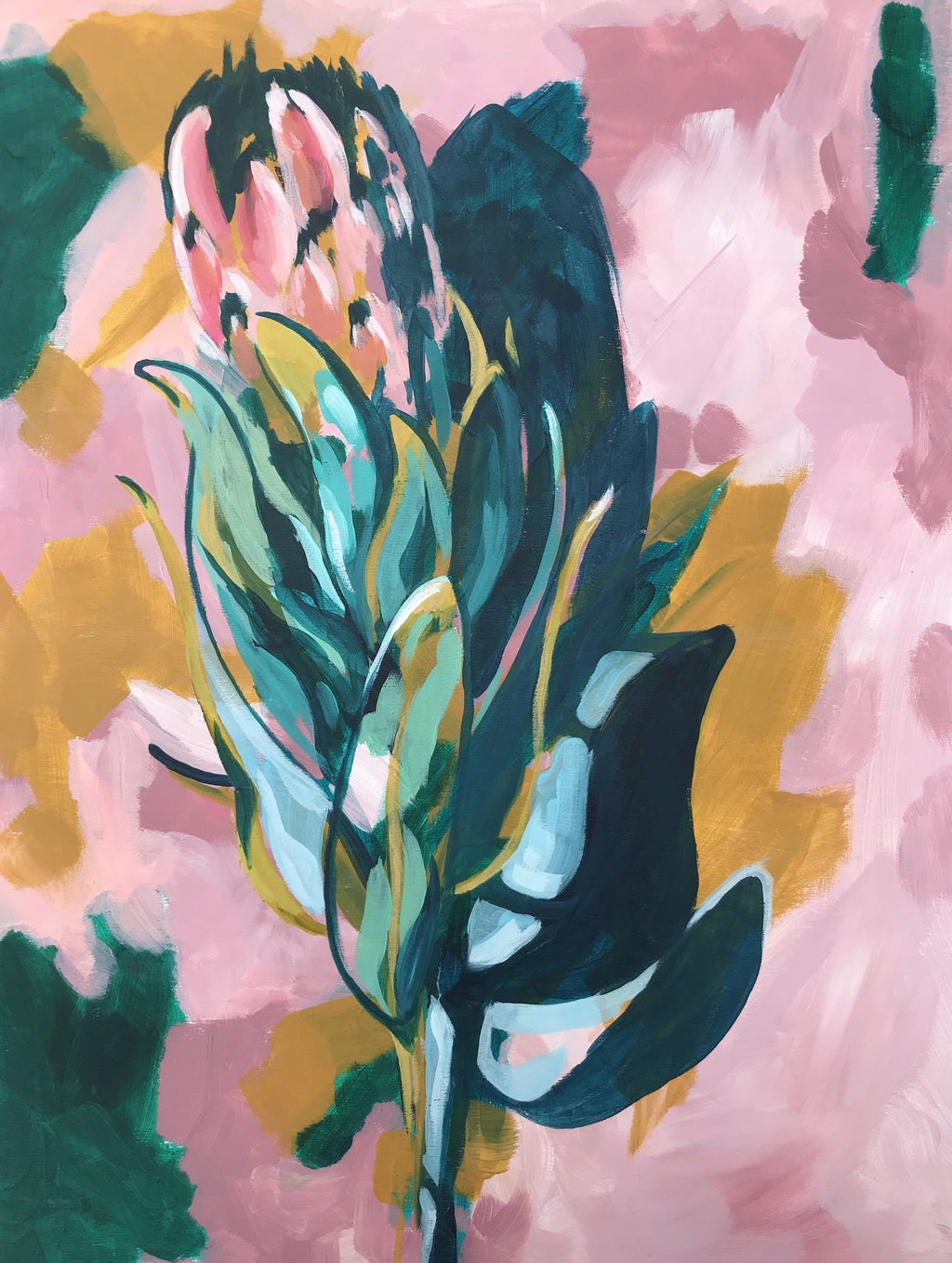 PROTEA | 18X24 | ORIGINAL ACRYLIC PAINTING ON WOOD | Item number 19-77P