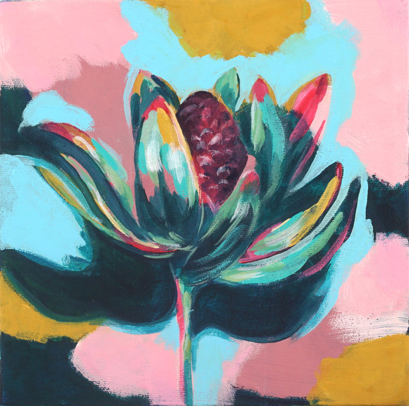 LEUCADENDRON | 8x8 | ORIGINAL ACRYLIC PAINTING ON CANVAS | Item number 19-79P