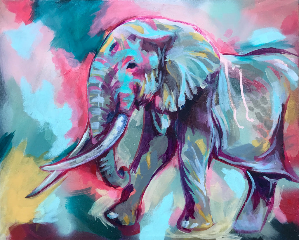 TIM THE ELEPHANT | 16X20 | ORIGINAL ACRYLIC PAINTING ON CANVAS | Item number 20-15P
