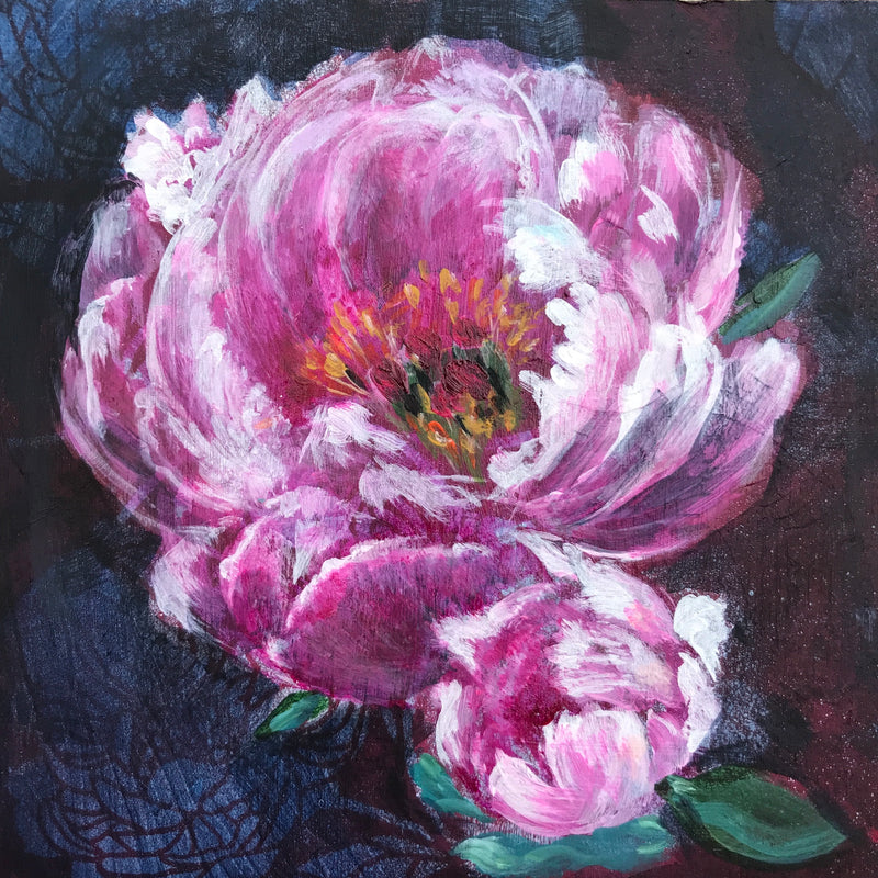 PEONY AND PATTERN | 5X5 | ORIGINAL ACRYLIC PAINTING ON WOOD | Item number 20-18P